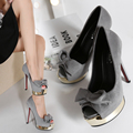 2017 Autumn Women pumps high heels with Bow Peep toe Platform Shoes Slip on Ladies