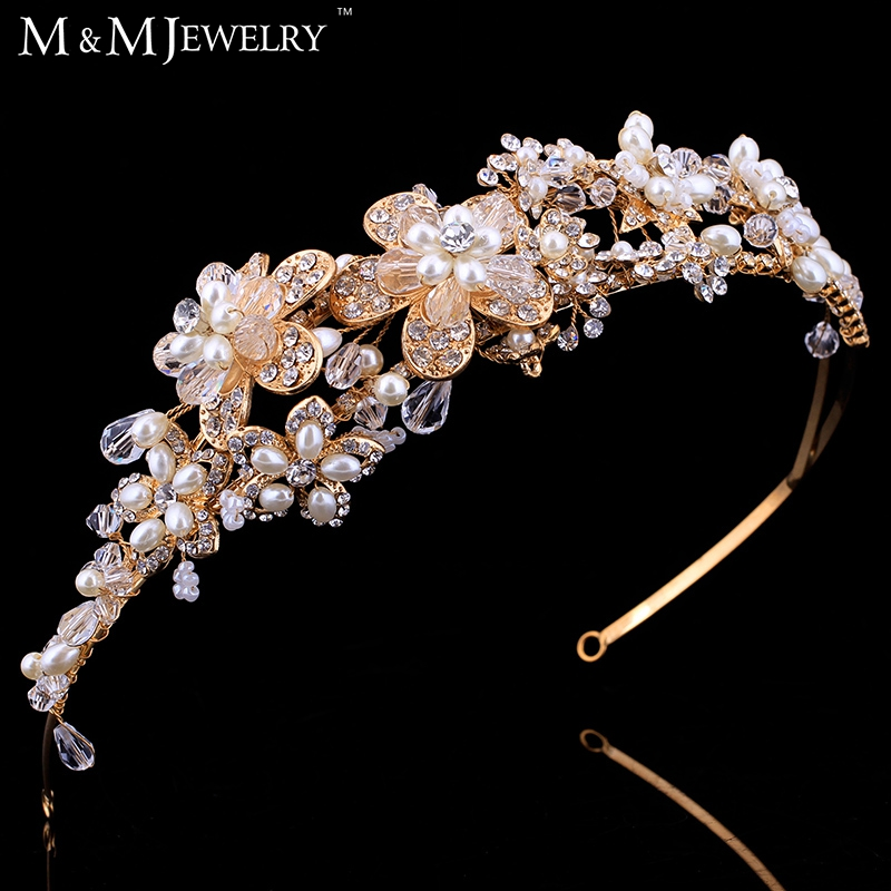 Top Quality Real Luxurious100% Handmade Crystal Pearl Bridal Headhand Tiara Bridal Hair Jewelry Wedding Hair Accessories TS100<br><br>Aliexpress
