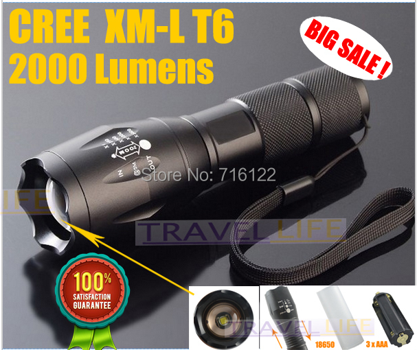 100% Authentic E17 2000 Lumens 5-Mode CREE XM-L T6 LED Flashlight Zoomable Focus Torch by 1*18650 or 3*AAA Free shipping(China (Mainland))