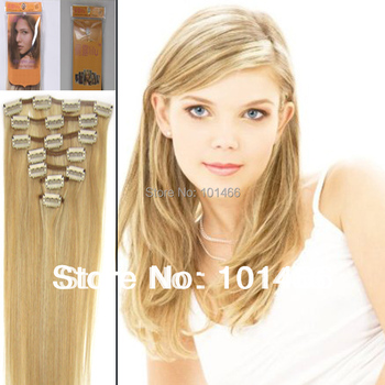New Packing 15''18'' 20'' 22'' Natural Clips in On 7 Pieces Hair Extension 1set #27/613 Silky Straight Hair