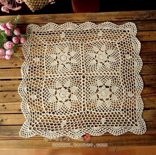 Handmade hook needle crochet table cloth american rustic fashion vintage cutout gremial knitted square sofa towel(China (Mainland))