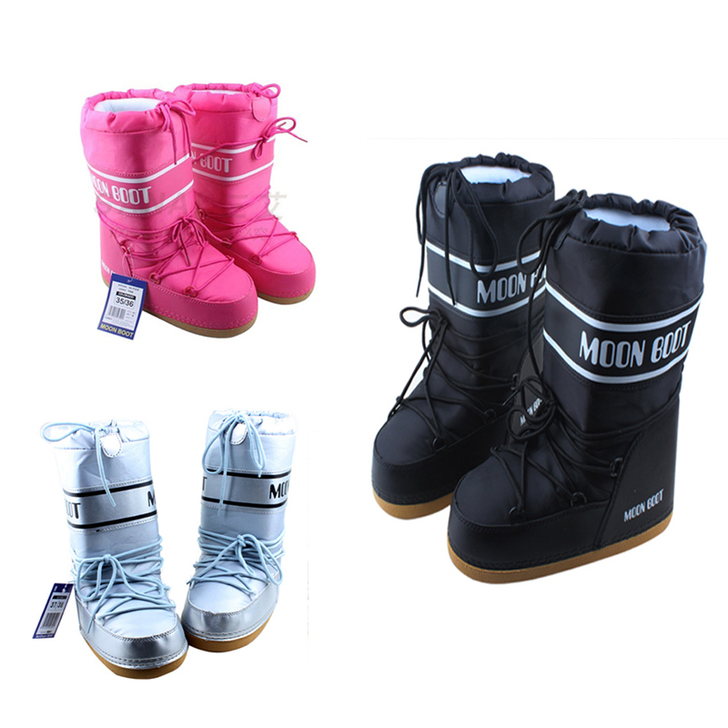 2016 New Arrival Keep Warm Snow Boots Fashion Women Moon Boots Space boot Lace Up Mid Calf Casual Boots parent-child ski boot(China (Mainland))