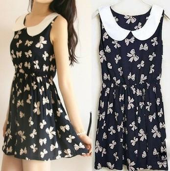 2014 new fashion Summer casual cotton dress for women, women's pattern dresses