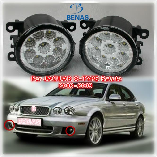 For JAGUAR X-TYPE Estate  2003-2009 Car styling  LED fog lightsHigh Brightness front bumper fog light Gray Covers 12V 1209177