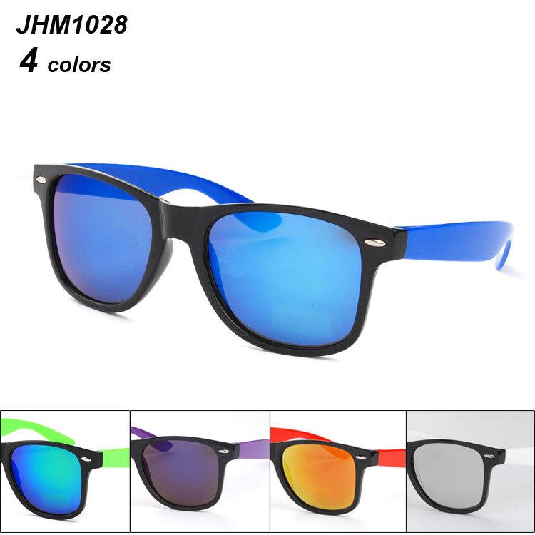 New cheap wayfarer women sunglasses china with double colors men oculos feminino de sol original design mirror glasses JHDM1028(China (Mainland))