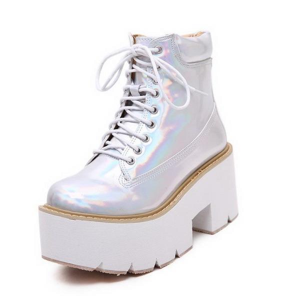 Novas senhoras da moda botas rodada Toe calçados femininos na plataforma mulheres botas de salto alto plataforma bagatela mulheres de amarrar sapatos