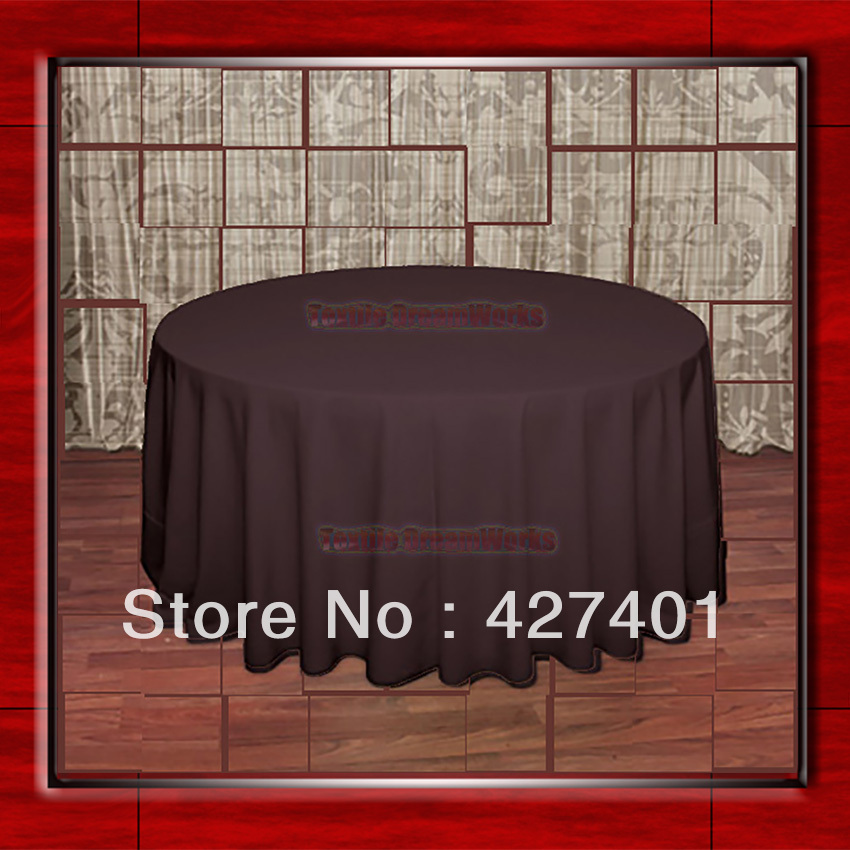 "Hot Sale 132 "" Brown Round Table Cloth Polyester Plain Table Cover for Wedding Events &Party (Supplier)(China (Mainland))"