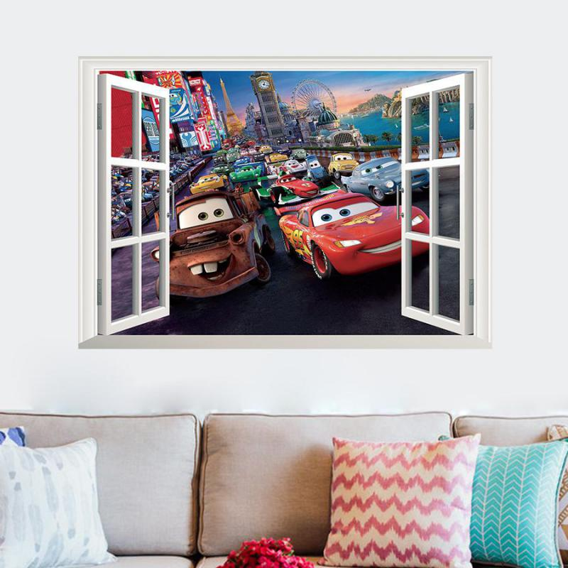 movie cars wall stickers kid bed play room decoration diy 3d cartoon film fantastic window home decal nursery kids mural art(China (Mainland))