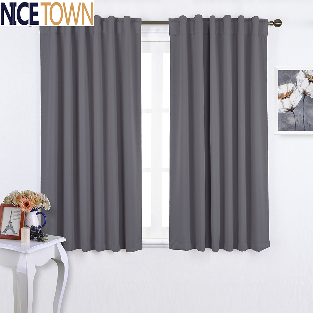 One Piece Ready Made Solid Color Thermal Insulated Rod Pocket Blackout Curtains For Living Room Drapes For Bedroom Window(China (Mainland))
