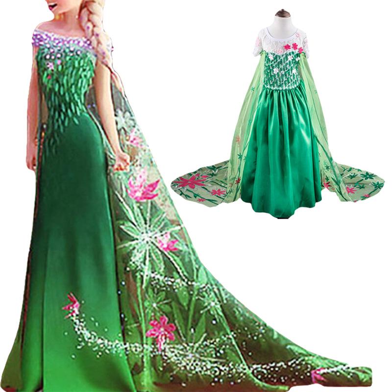 Retail 2015 Cinderella ELSA dresses party princess costume fever cosplay elsa dresses, girls Kids dance lace cape dress free(China (Mainland))