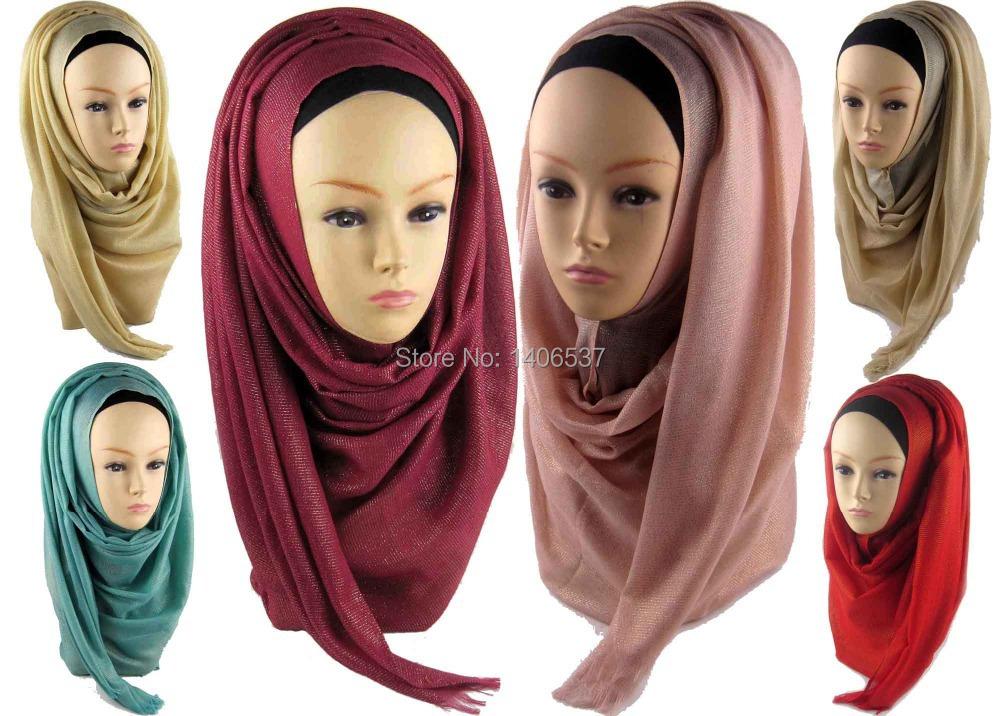 PHS015 Free shipping 26Colors GLITTER SHIMMER Plain Oversized Maxi Hijab Scarf Shawl Wrap Pashmina,Can Choose Colors(China (Mainland))