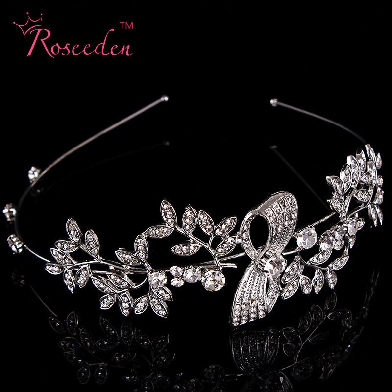 Elegant Rhinestone Clear Crystal Tiara Crown Bridal Princess Leaf Crystal Hair Heabbands Bridal Prom Wedding Accessories RE94(China (Mainland))