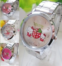 2015 New fashion and casual Brand Hello kitty stainless steel watch women Lovely Cartoon wristwatches for lady