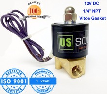 "U.S. Solid 1/4"" Brass Electric Solenoid Valve 12 V DC NPT Thread Normally Closed water, air, diesel... ISO Certified(China (Mainland))"