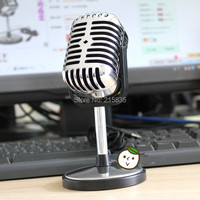 2014 New Free Shiping Professional Silver Deluxe Vocal Microphone Vintage KTV Microphone ,Classic Dynamic Moving Coil Microphone
