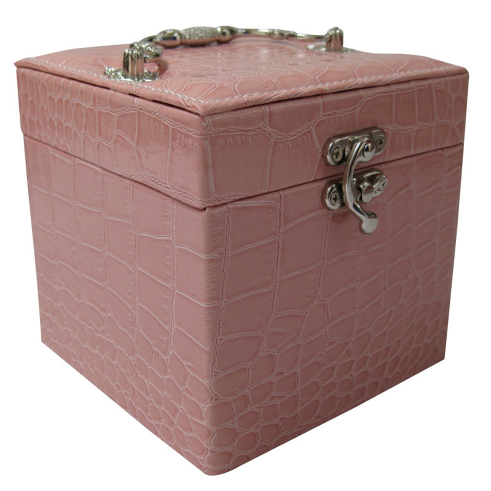 New Arrival,Faux Leather Large Rectangle Double Tray Jewelry Box Jewelry Case Storage Free Shipping(China (Mainland))