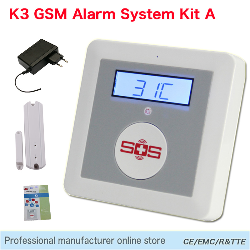 Smart Alarm Wireless Android IOS APP Remote Control GSM SMS Alarm System Home Security Elderly Helper SOS Button Door Sensor K3(Hong Kong)