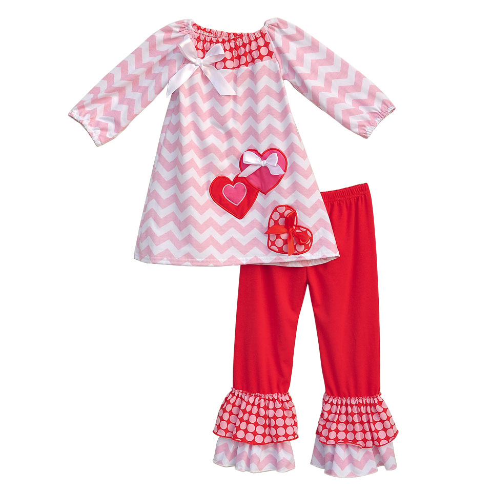Boutique Remake Kids Spring Sets Chevron Stripes Top With Bow Red Double Ruffle Pants Baby Girls Outfits For Valentine V005(China (Mainland))