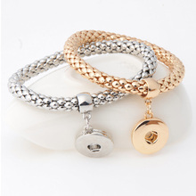 Fashion Ginger Snap Bracelet Elastic Snake Chain Bracelet Bangles fit 18MM snap buttons Women Unisex Jewelry B381(China (Mainland))