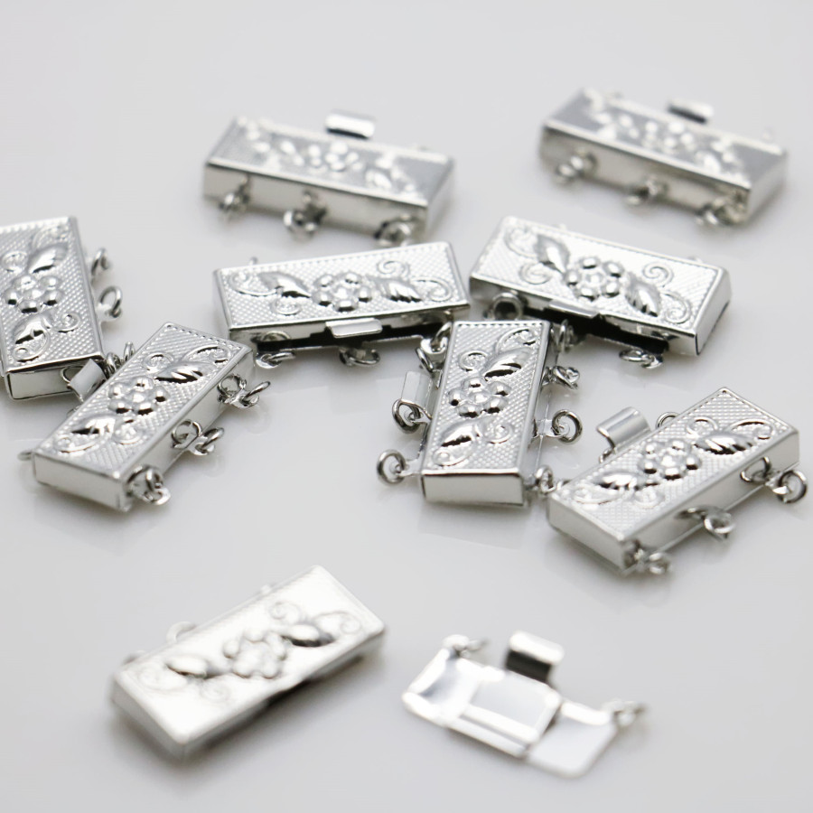 10PCS Accessory buttons Fittings for snaps jewelry Rectangle DIY button 3-row Silver-plate Machining metal parts Jewelry Making(China (Mainland))