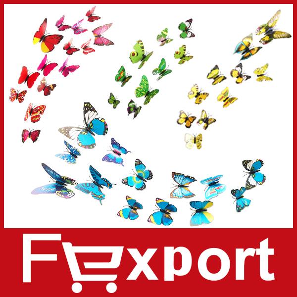12 Pcs/Lot PVC 3D Butterfly Wall Stickers