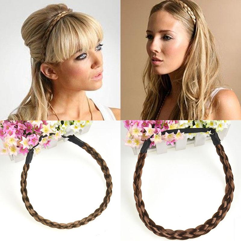 Women Korean Braided Plait Plaited Hair Hoop Headband Hairband Hair Belt Elastic Wholesale Free Shipping #L10113(China (Mainland))