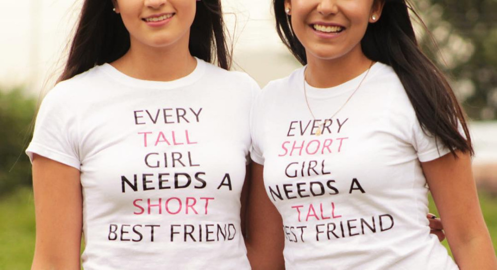 Best Friends T Shirt Summer 2016 Funny EVERY TALL GIRL NEEDS A SHORT BEST FRIEND Printed Graphic Tees Women Clothes(China (Mainland))