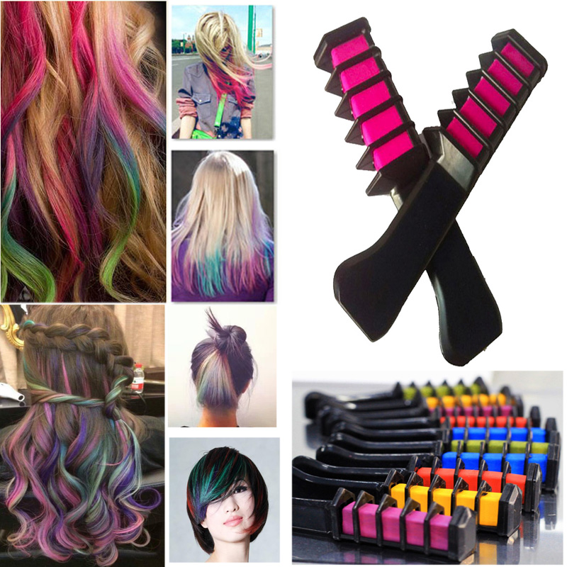 2016 FashionDIY Hair Streaked Style Chalk With Comb High Quality Temporary Blue Hair Mascara Multicolor Dye Permanent Hair Color(China (Mainland))