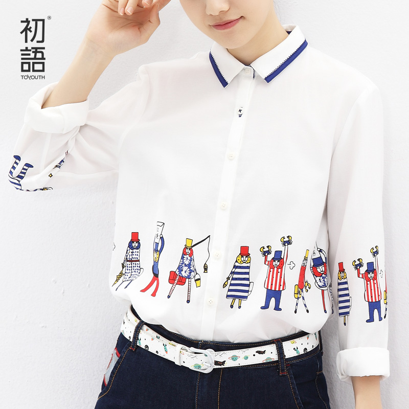 Toyouth 2016 Winter Newest Long Sleeve Shirts Cute Cartoon Print Contrast Color Turn-Down Collar Art Style Blouses FashionОдежда и ак�е��уары<br><br><br>Aliexpress