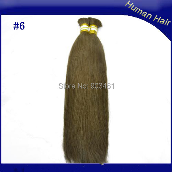 Hot Sale Cheap Full Ends Remy Real Hairpiece 100g/pc 8-32 Inch #6 Medium Brown Buy Brazilian Bulk Hair for Hairstyling(China (Mainland))