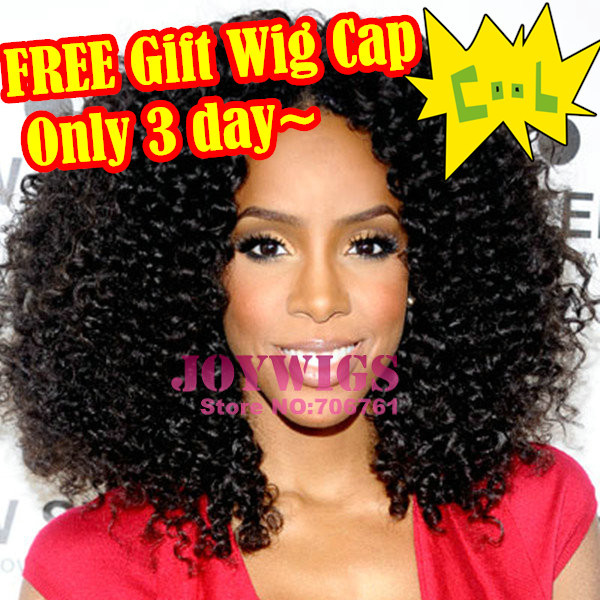 Stock Celebrity Kelly Rowland Brazilian Virgin Afro Kinky Curly Human Hair Full Lace/Lace Front Wig For Black Women 180 Density(China (Mainland))