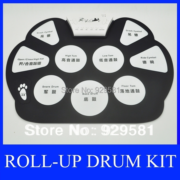 Supernova sale ! Portable Digital Electrical USB Roll-up Musical Drum Set Kit with Drum sticks & Foot Pedal, for Kids(China (Mainland))