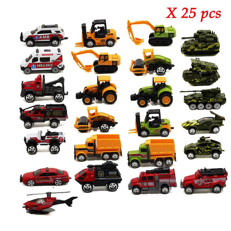 Hot 1:64 25pcs/Set Kids's Scale Doecast Model Car Sets Toy;Mini Alloy Metal Diecast Vehicle Cars Kids Toys Boys Truck Avion(China (Mainland))