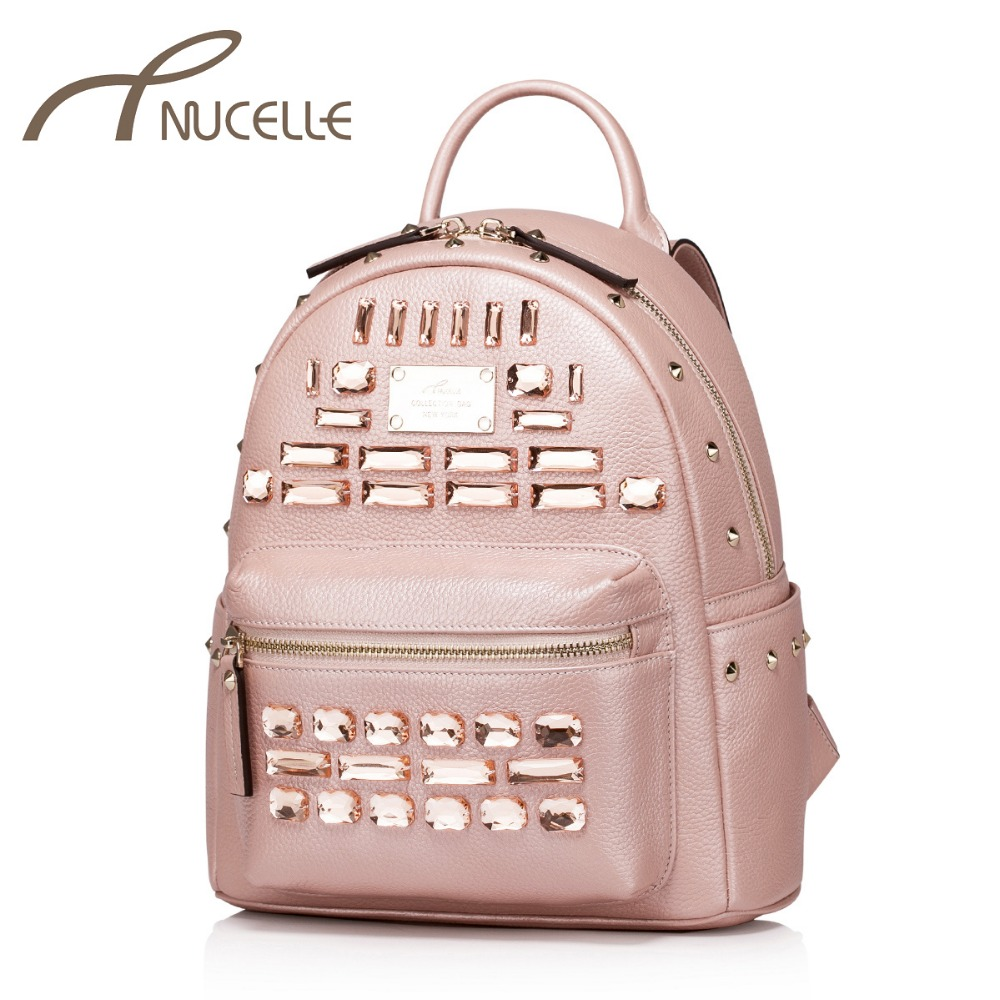 Nucelle Women Genuine Leather Backpack Fashion Ladies Cowhide Rivet Diamonds Female Daily Double Shoulder Bags Brand Gift NZ5809<br><br>Aliexpress
