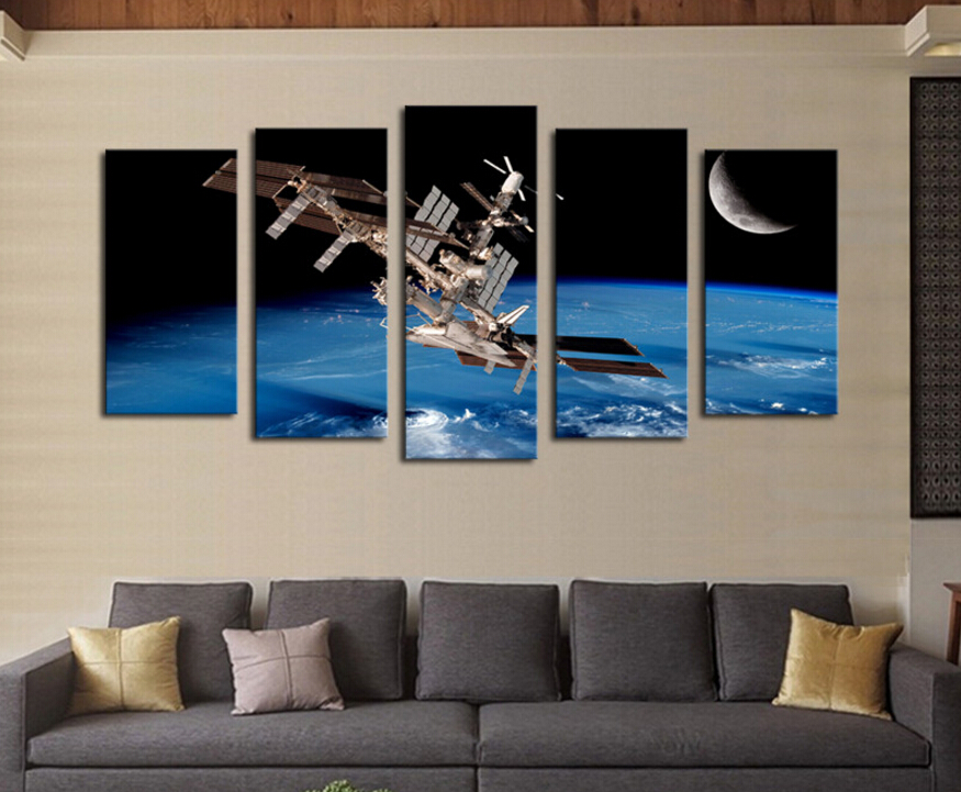 unframed 5 Pcs Satellite Space Landscape Picture Print Painting Modern Canvas Wall Art for Wall Decor Home Decoration Artwork(China (Mainland))