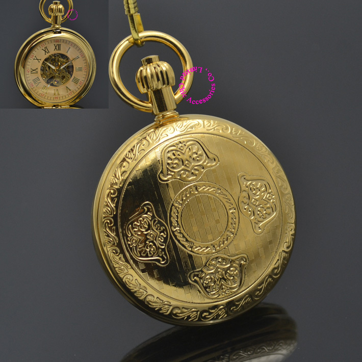men mechanical pocket watch roman classic fob watches flower design retro vintage gold ipg plating copper brass case snake chain<br><br>Aliexpress