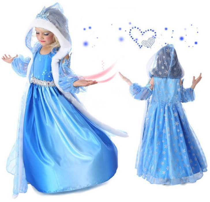 Retail 2015 New girl summer dress girls children clothing Elsa Anna Dress Girl's Princess Dresses Brithday wedding party costume(China (Mainland))