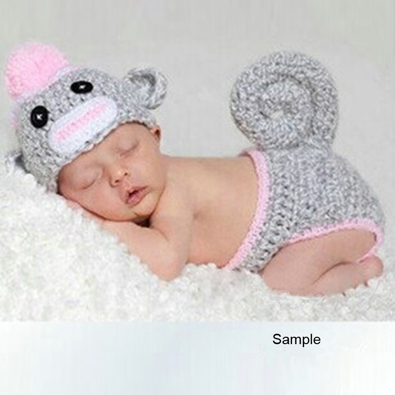 Baby Garment Photography Props Cute Monkey Design Handmade Crochet Newborn Beanie Costume Gray 350x410mm; 2pcs/set(China (Mainland))
