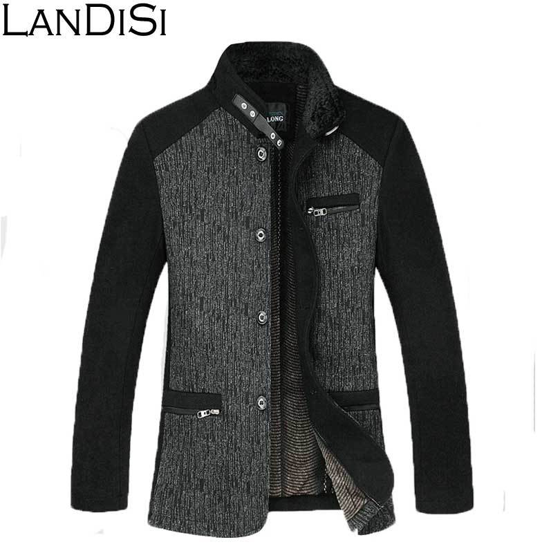 Plus Size European American M-4XL 2014 New Men's Winter Jacket Long Sections Turn-Down Collar Casual Woolen Coat 1322-B - LanDiSi Fashion store
