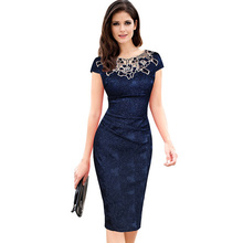 Buy Fantaist Women Summer Floral Embroidery O Neck Ruched Lace Dress Elegant Wedding Party Casual Office Vintage Midi Pencil Dresses for $14.57 in AliExpress store