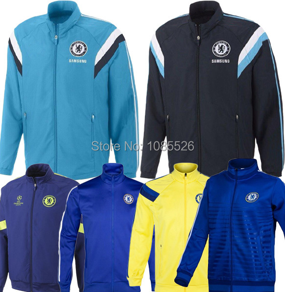Thai Quality UCL Chelsea14/15 N98 Soccer Jackets 2015 Chelsea Training Jackets Track Tops Embroidery Logo Tracksuits Chelsea(China (Mainland))