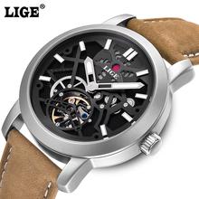 LIGE fashion casual sport Watches Men Dive 50M Military Leather Hollow Wristwatch man clock Brand watch Men's Relogio Masculino