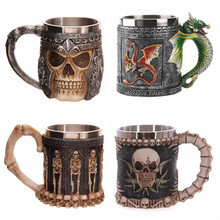 Personalized Double Wall Stainless Steel 3D Skull Mugs Coffee Cup Mug Skull Knight Tankard Dragon Drinking Cup Canecas Copo(China (Mainland))