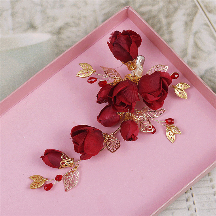 Red 6pcs/lot African Flower Lace Applique, Red Crystal Wedding Bridal French Hairwear ClipsHeadband Decor(China (Mainland))