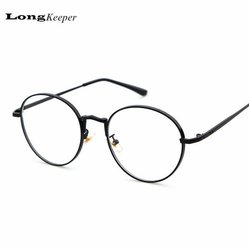 2017 new designer women glasses optical frames metal round glasses frame clear lens eyeware black silver gold pink eye glass