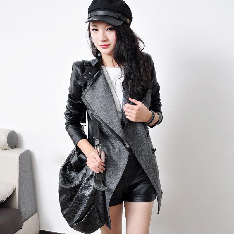 Fashion Slim Medium-long PU patchwork Women Winter Jacket woolen small trench outerwear female Size XS S M L XL XXL A0202Одежда и ак�е��уары<br><br><br>Aliexpress