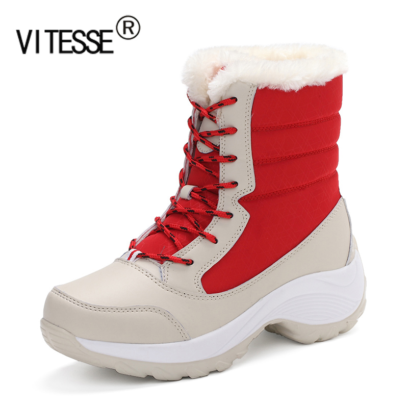 Vitesse 2016 New Women Walking Shoes Warm Keep Leather Boots High Top Fashions Snow Boots Wool Sneakers Size 35-41 Free Shipping(China (Mainland))