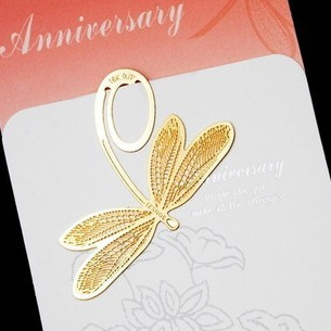 Korea stationery I love the beautiful nature of 18K bookmarks Golden Dragonfly 5.5*5.5cm 1piece(China (Mainland))