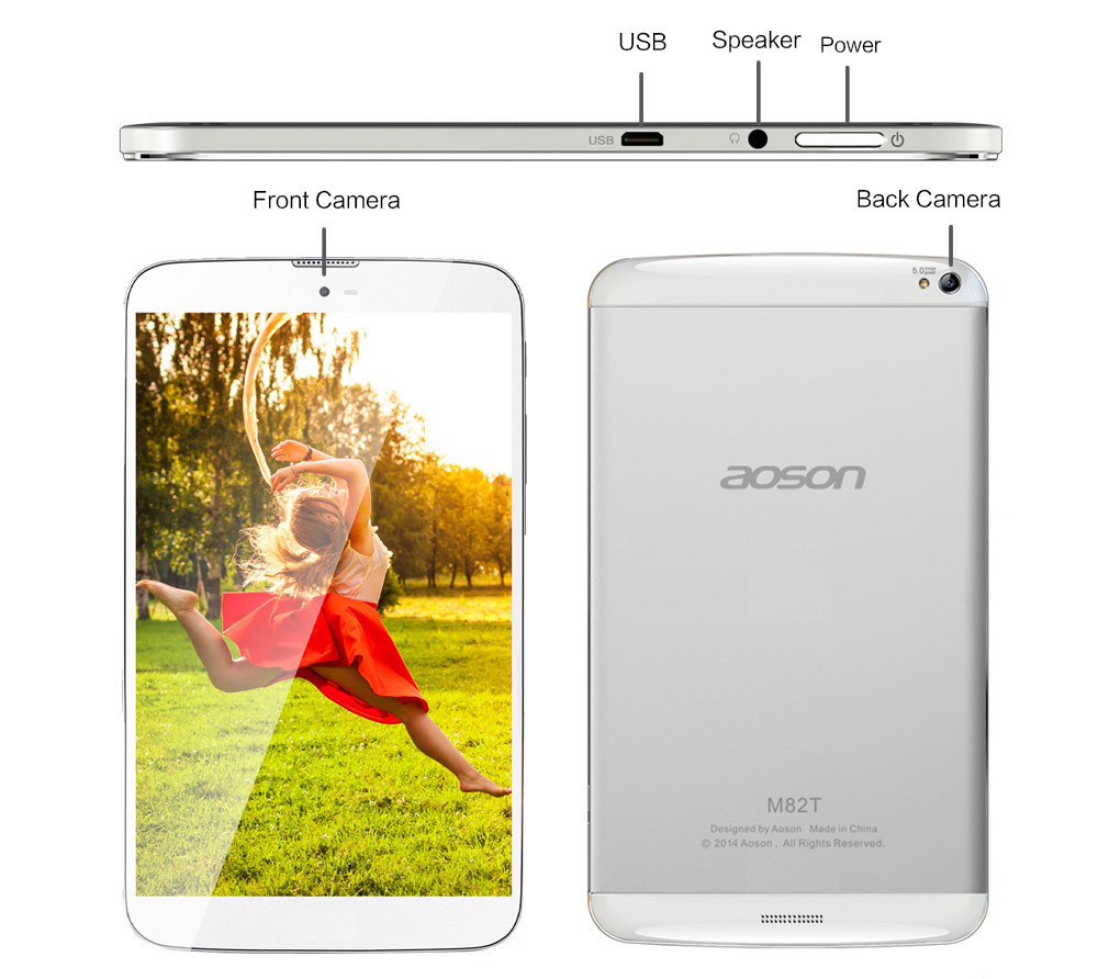 3G Phone Call Tablet PC Aoson M82T 8 inch Quad Core MTK8283 Dual Camera 5MP 1G