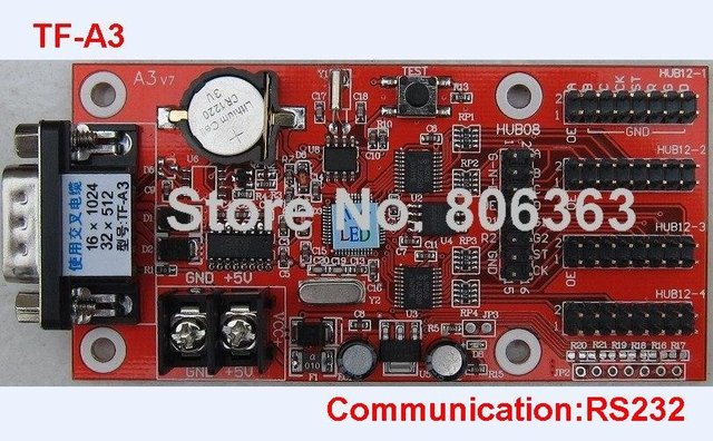 TF-A3 LED Display Control Card , Single & Dual Color Support , Small Serial 232 Controller